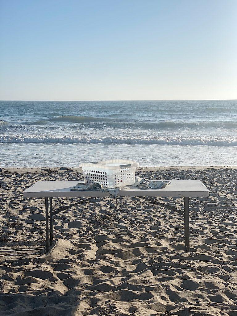 creating dinner on the beach