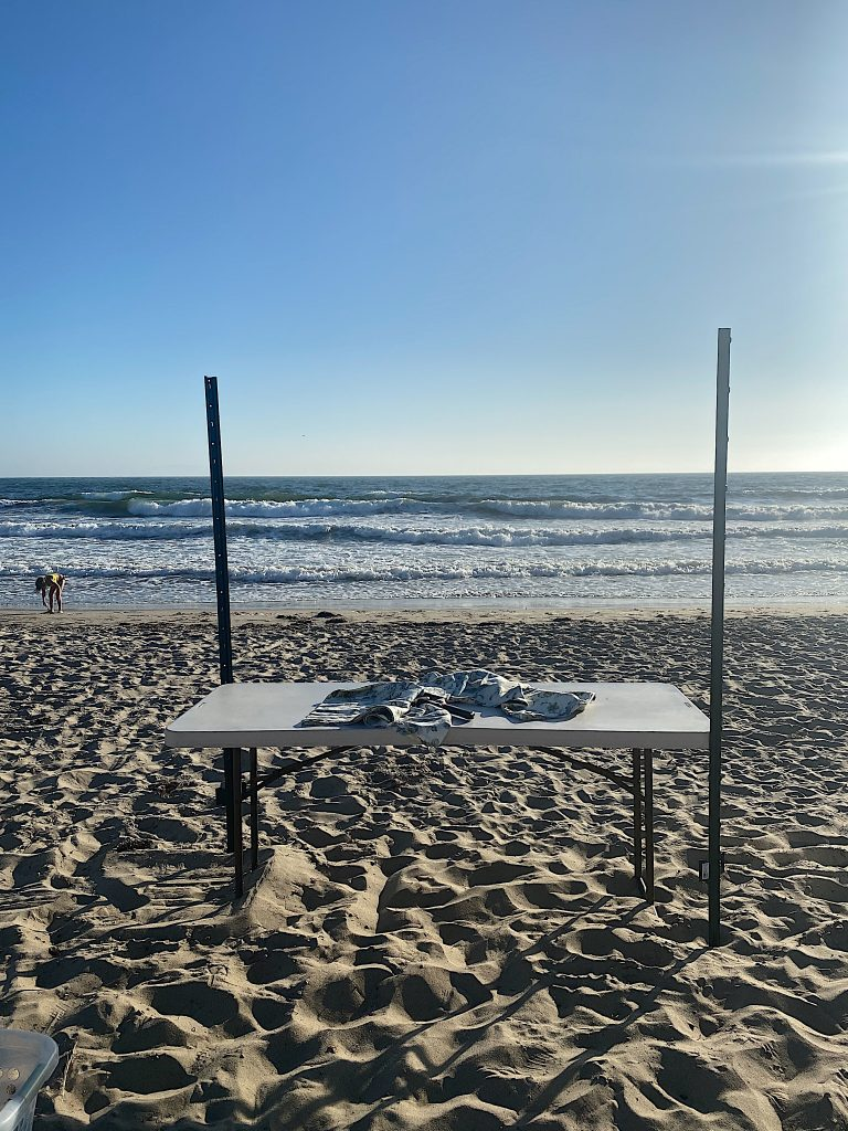 set up dinner on the beach