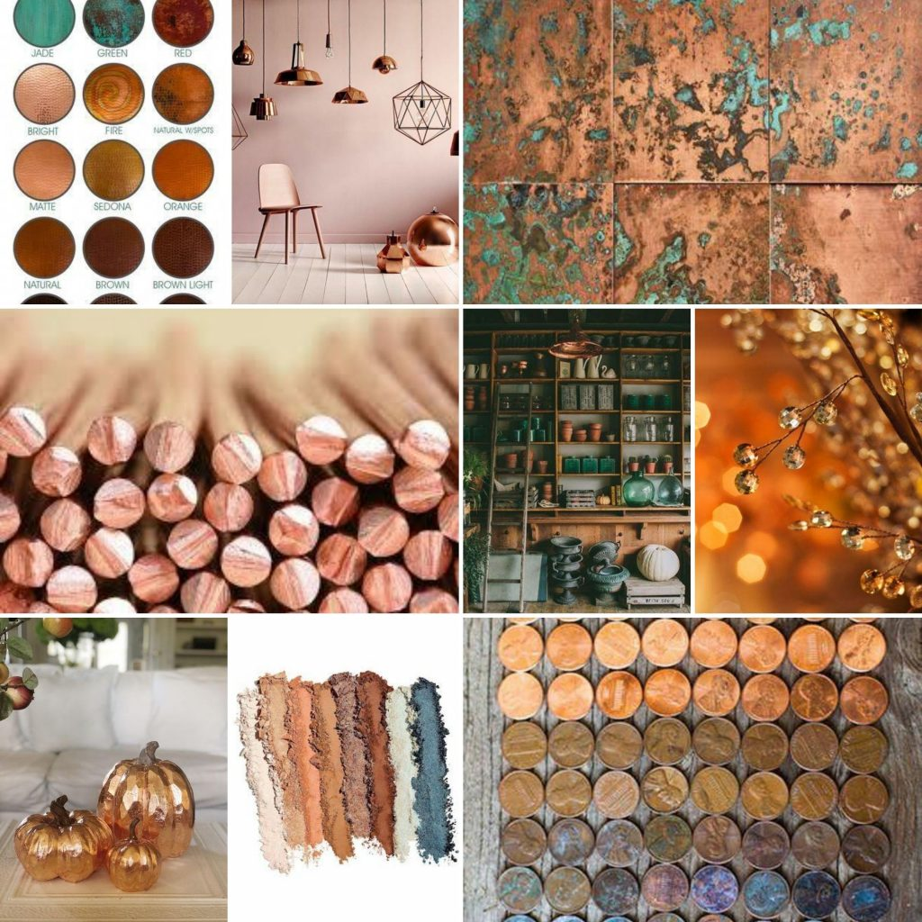 copper color inspiration board