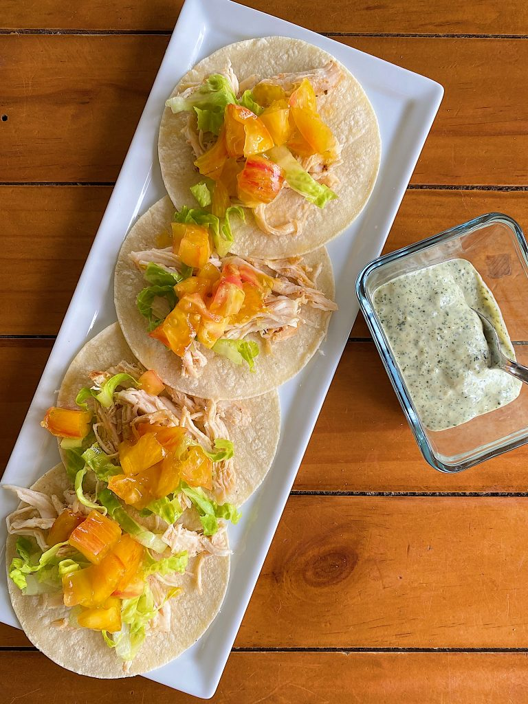 Crock Pot Chicken Tacos with Heirloom Tomatoes