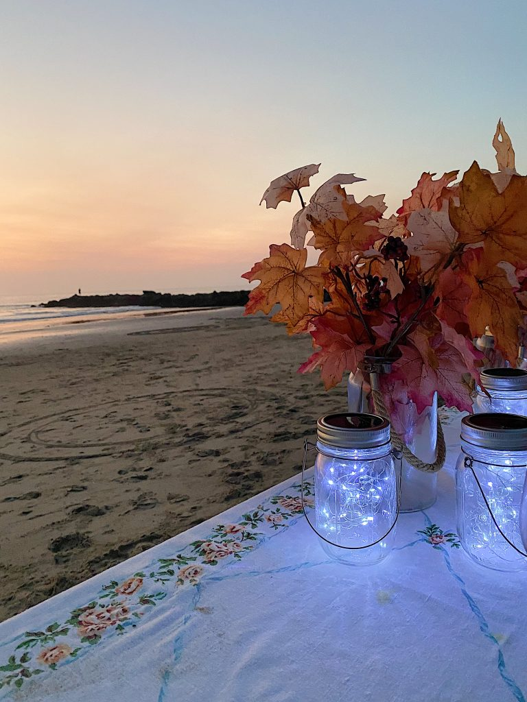 Dinner on the Beach with Mason Jar Lights