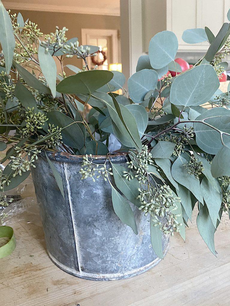 Fall Flower Arrangement with Eucalyptus
