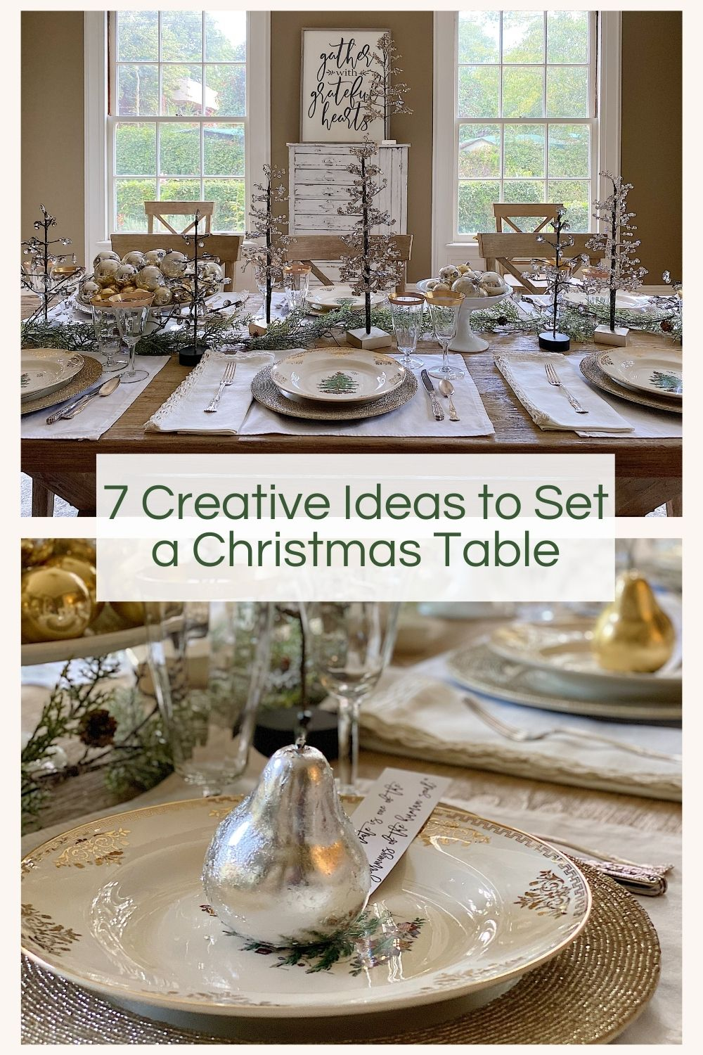 I love to set a table and I am so excited to share with you today the seven creative ideas I used to set a Christmas table.