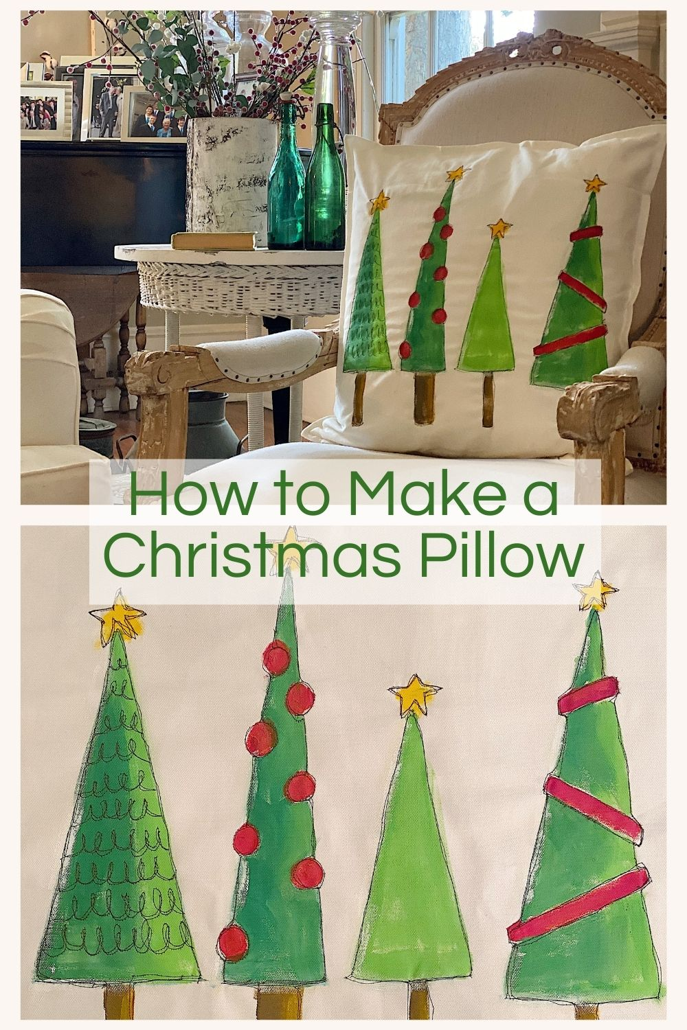 I am so excited to share a favorite Christmas craft DIY, my Christmas Tree Pillow. It's easy to make and looks store-bought.