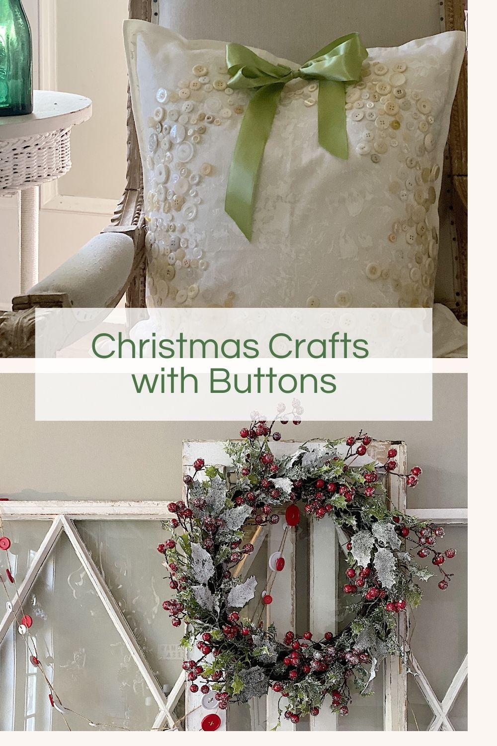 Today I made some Christmas crafts with buttons. I came up with these ideas because I wanted to create a few holiday crafts from items I already owned.