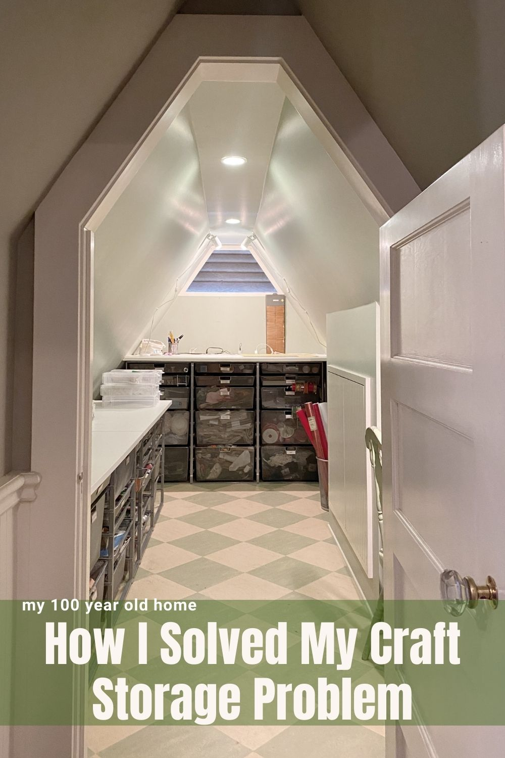 I am finally sharing the craft room storage area on our third floor that I designed in the attic area on our third floor.