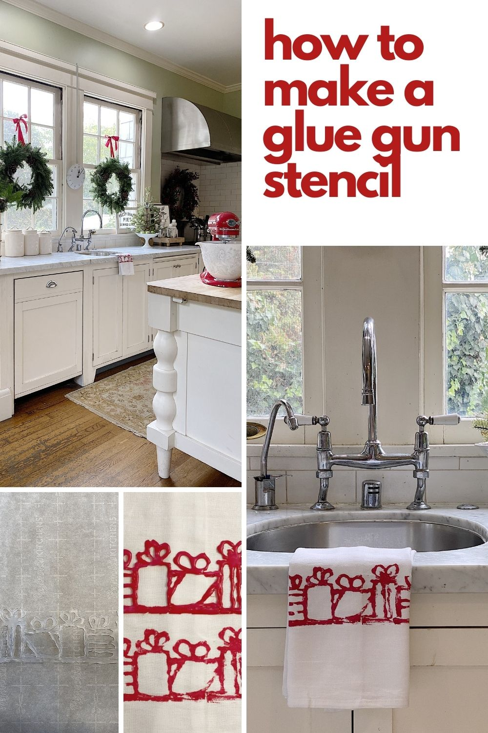 I love to make stencils with my glue gun. It's easy, inexpensive, and looks great. Check out these Christmas Kitchen towels that I made for Christmas.