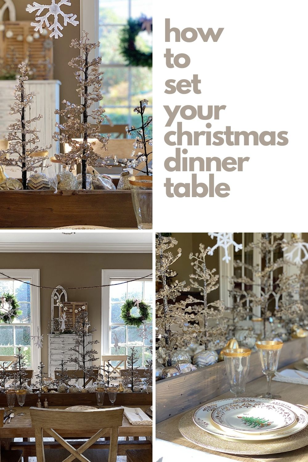 I am so excited to share how I styled our dining room with Christmas decor. I can't believe our table is ready for Christmas dinner!