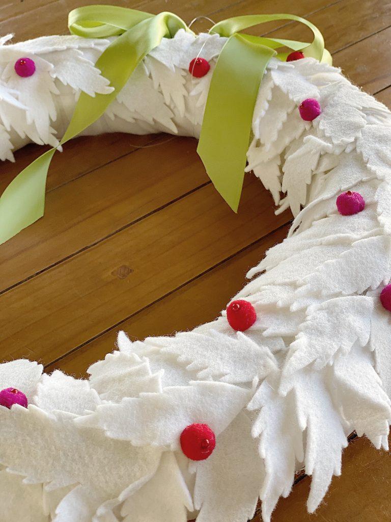 White Felt Christmas Wreath