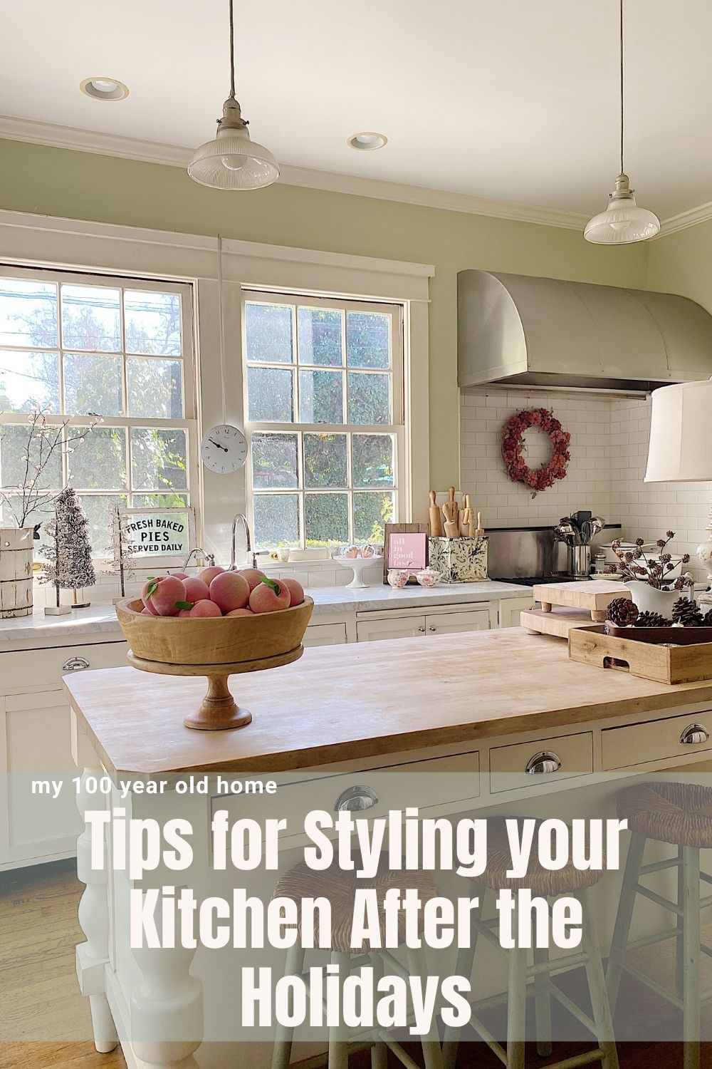 Today I am sharing some tips for styling your kitchen after the holidays. I love this transformation using color and some of my holiday decor.