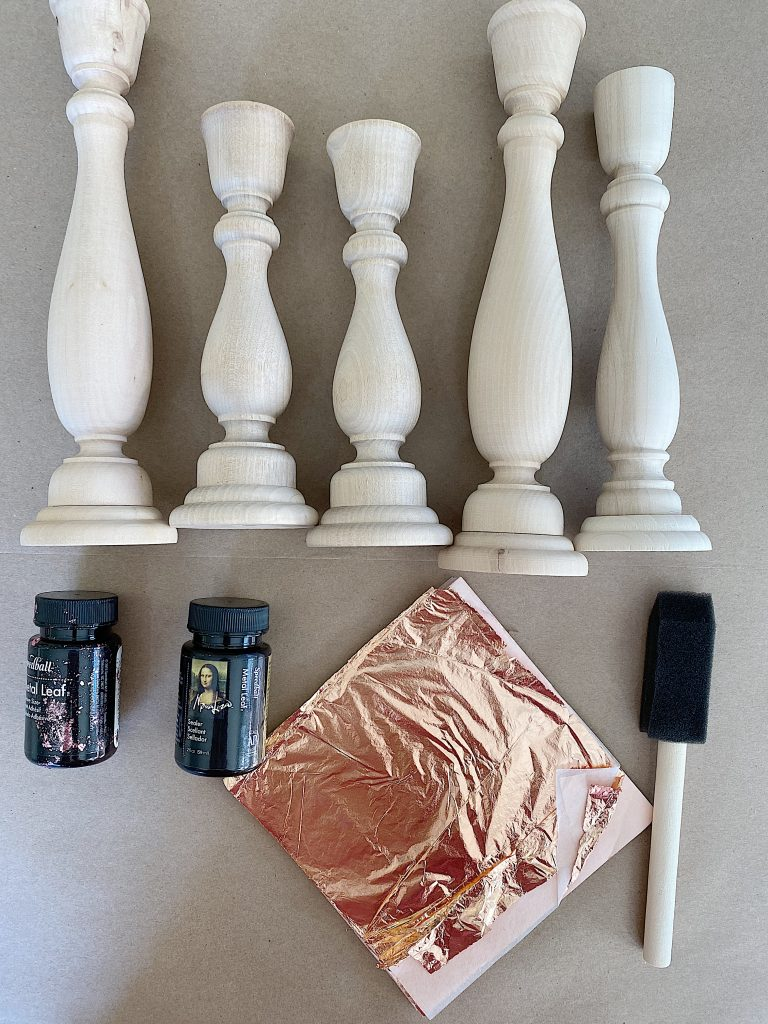 Materials to Make Rose Gold Candlesticks