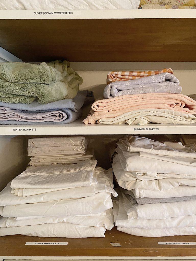 Organize a Linen Closet Bedding