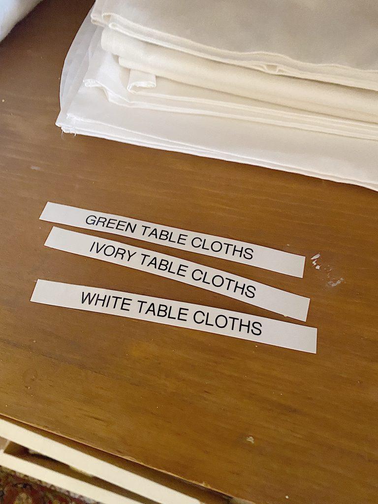 Organize a Linen Closet Tablecloths