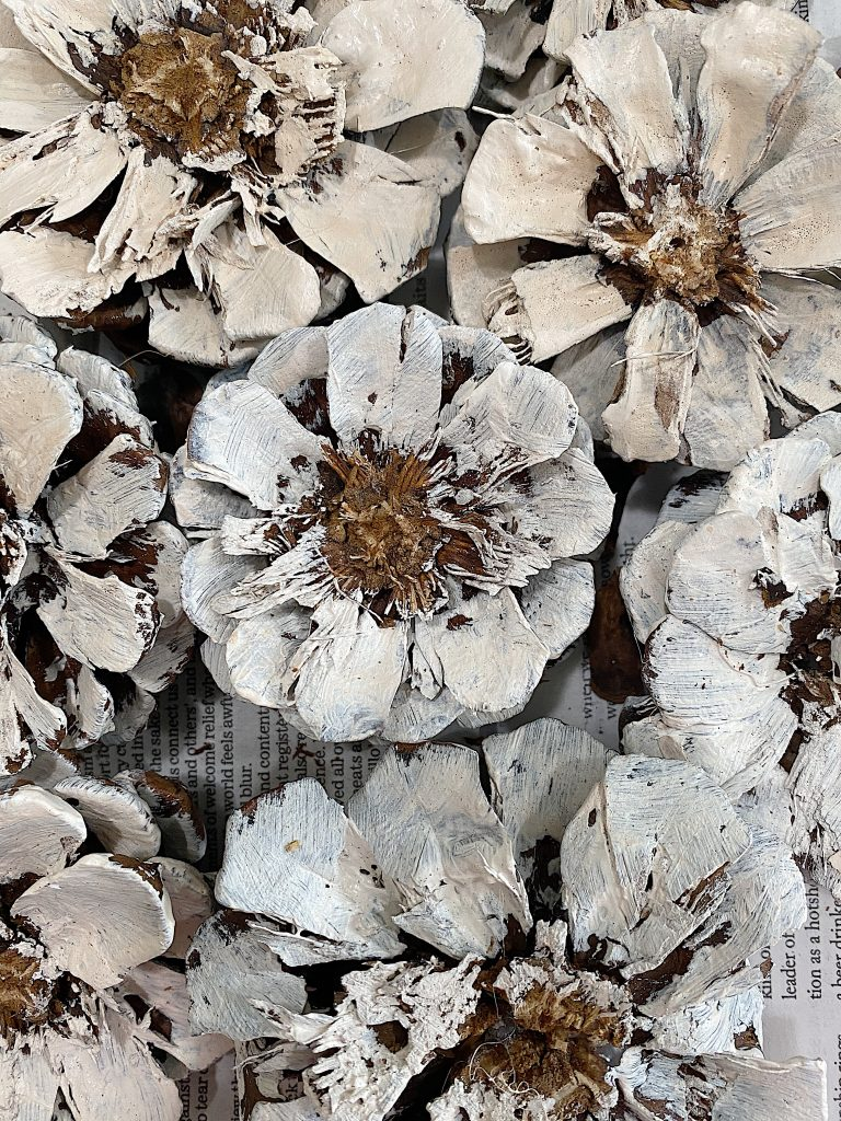 Pine Cone Wreath DIY Flowers Painted Close Up