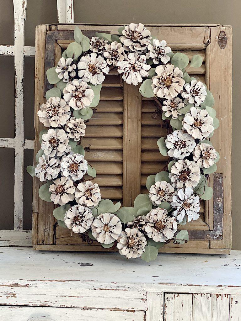 Pine Cone Wreath DIY Winter White