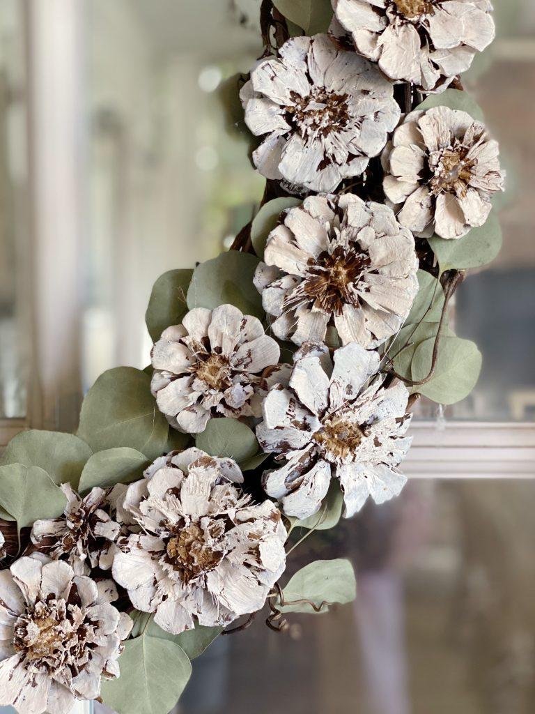 Pine Cone Wreath DIY with Eucalyptus Leaves
