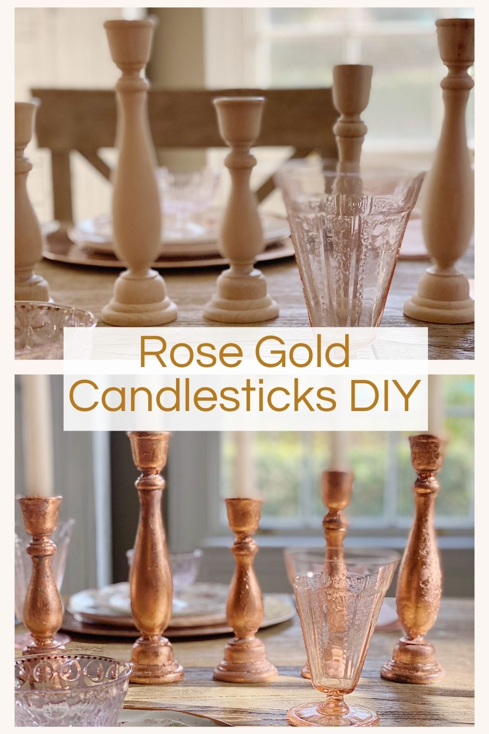 I made the most incredible Rose Gold Candlestick holders. I used wooden candlesticks and covered them with Rose Gold Metal Leaf.