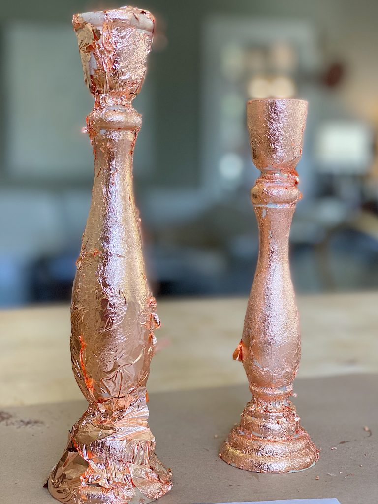 Rose Gold Metal Leaf on Wood Candlesticks