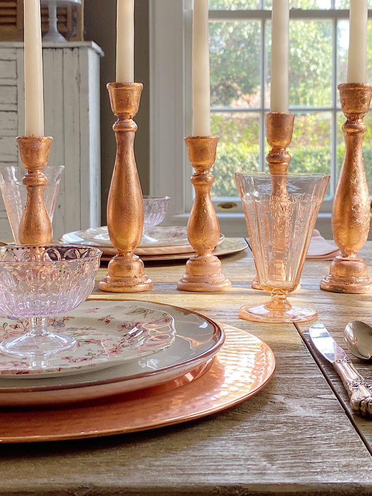 Rose Gold Wood Candlesticks DIY