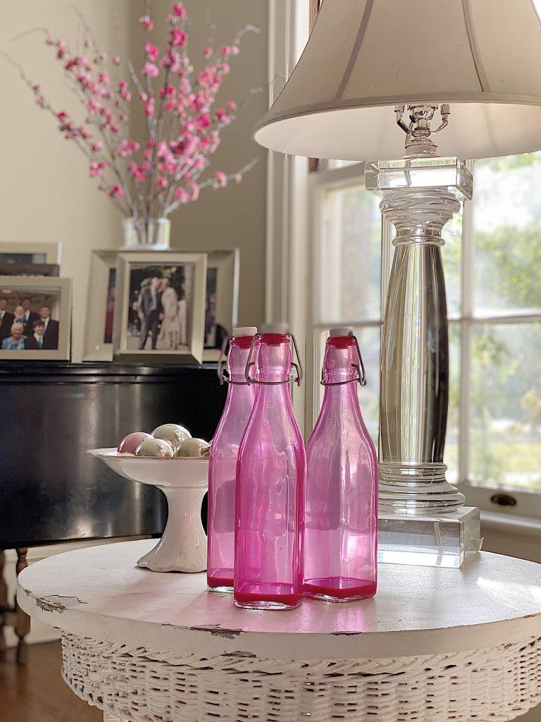 Valentine Decorating with DIY Pink Bottles