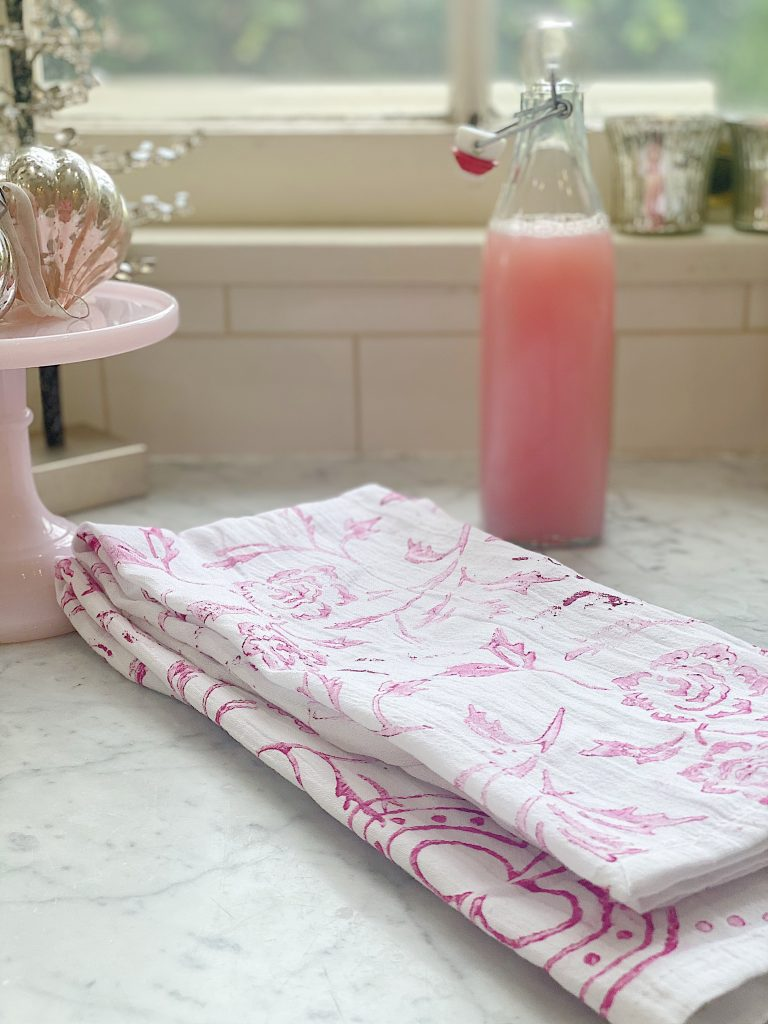 Valentine Dish Towels and Pink Soap
