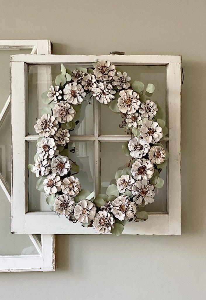 White Pine Cone Wreath DIY