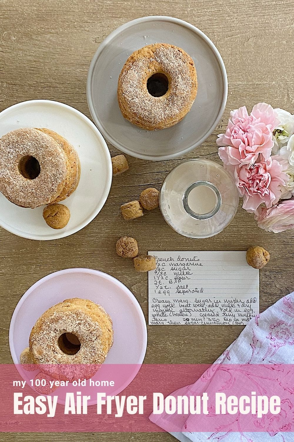 Today I modified my Mom's French Donut recipe into an Easy Air Fryer Donut recipe. This no yeast recipe is made from scratch, is gluten-free, and cooked in my Ninja Foodi air fryer. These sugar-cinnamon donuts (and donut holes) are delicious.