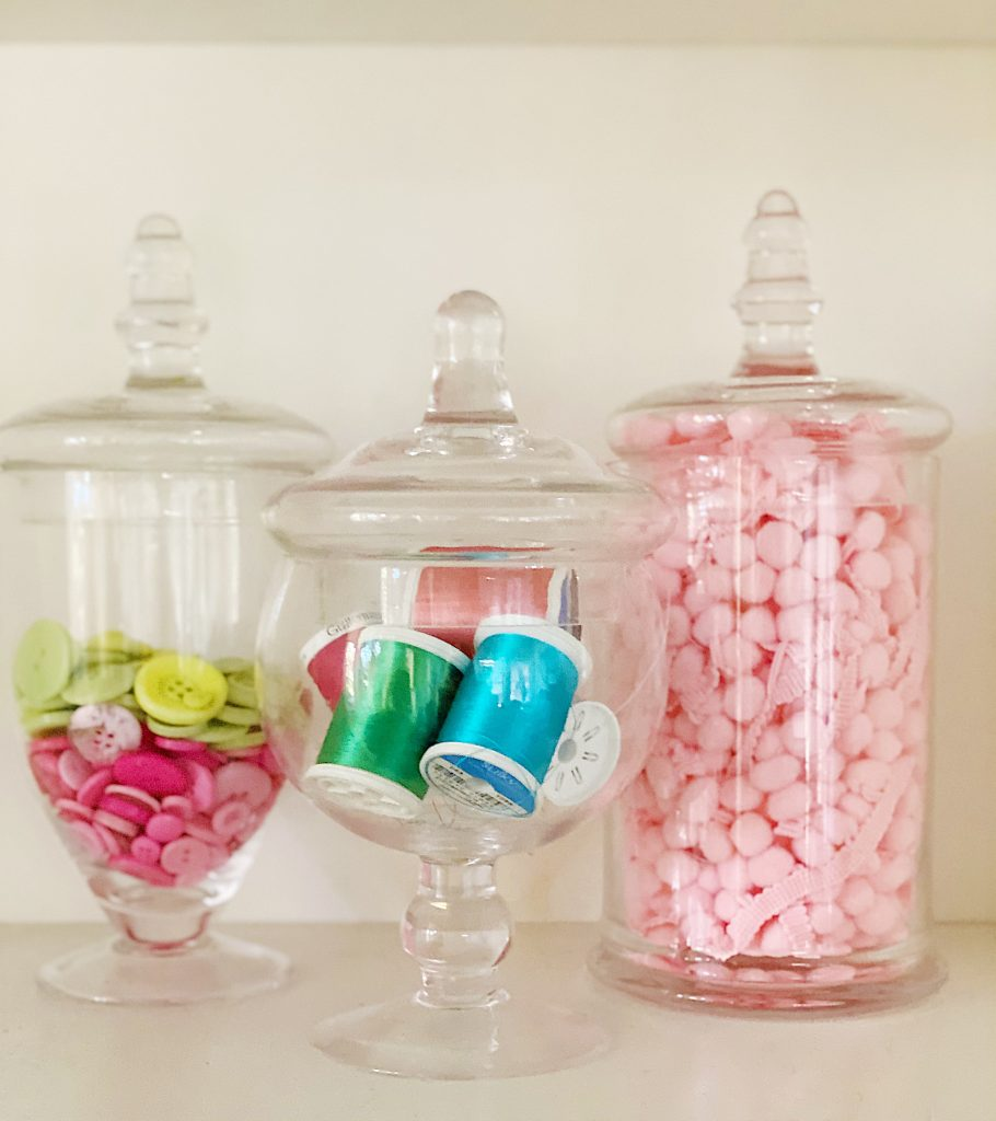Apothecary Glass Jars in the Craft Room