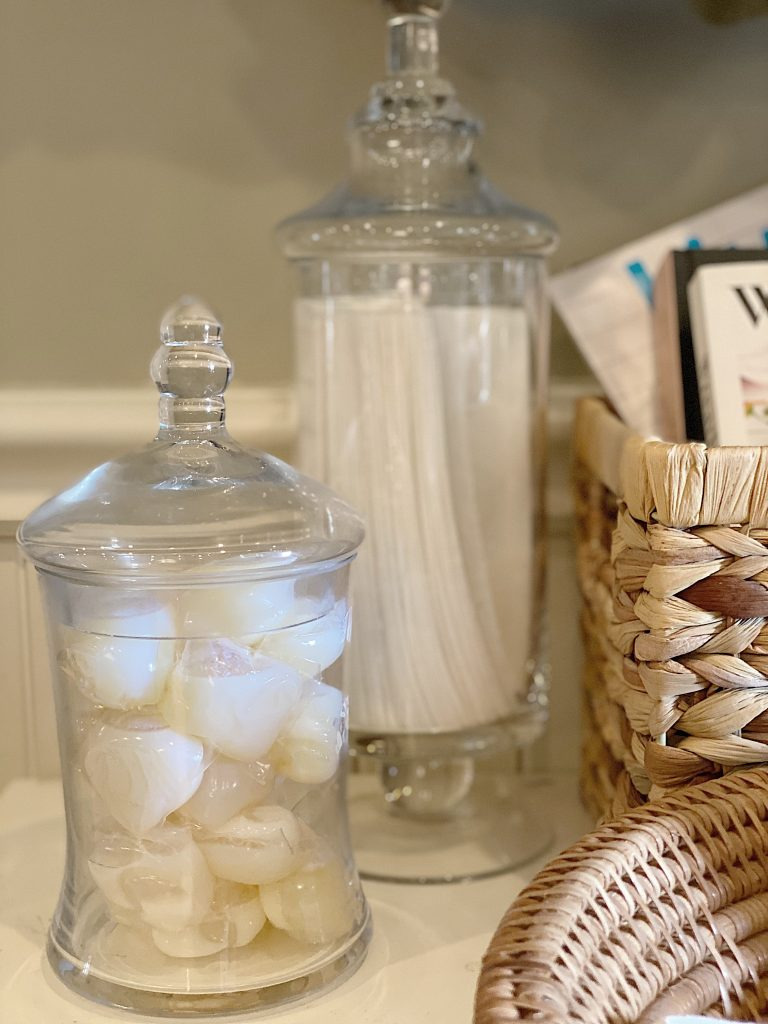 Apothecary Glass Jars in the Laundry Room