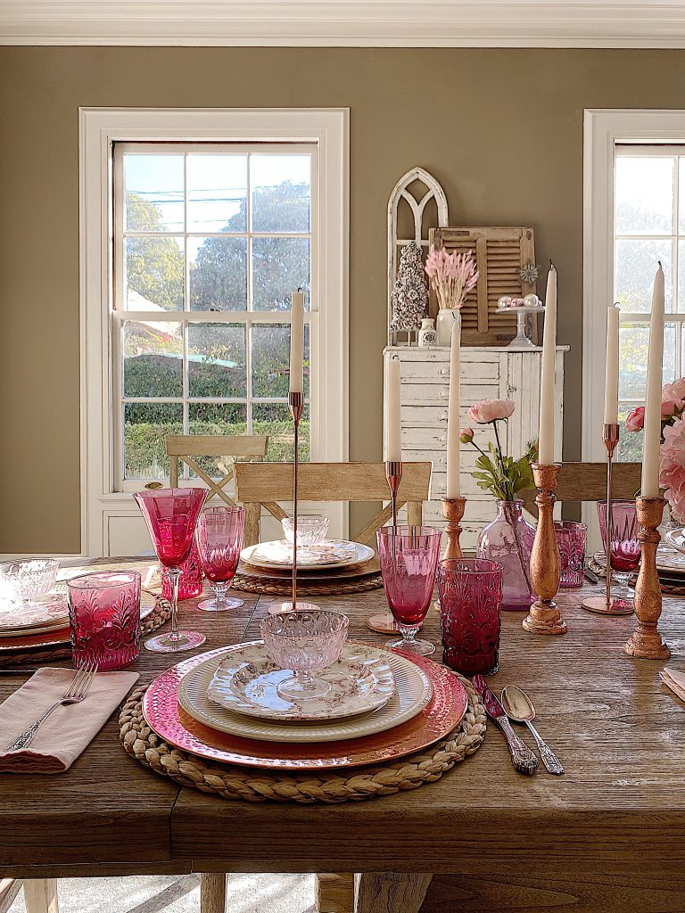 Beautiful Cranberry Glass Dining Room Table