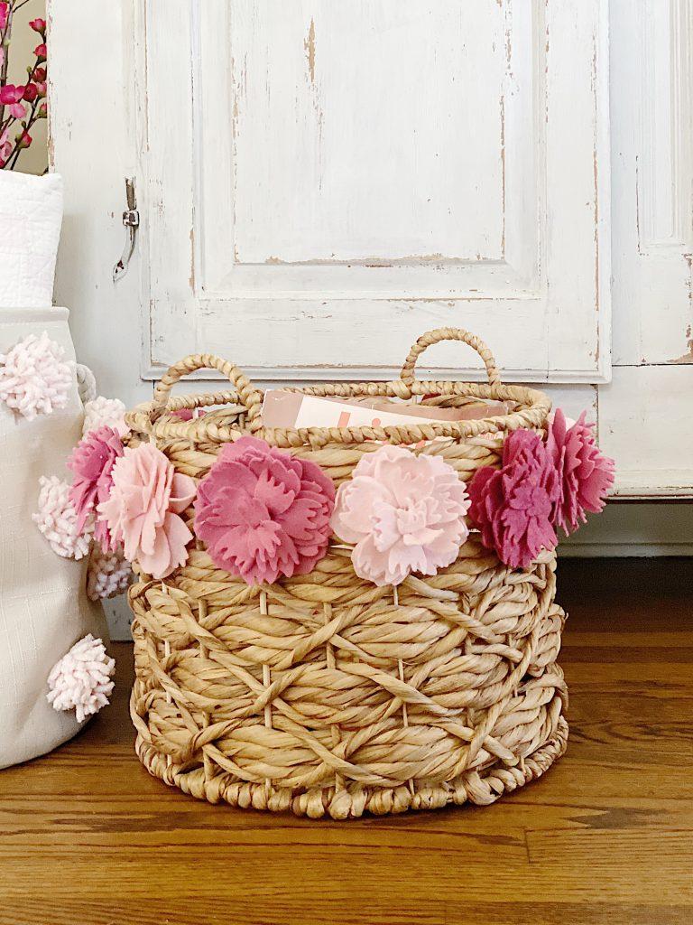 Felt Peony Decorative Basket