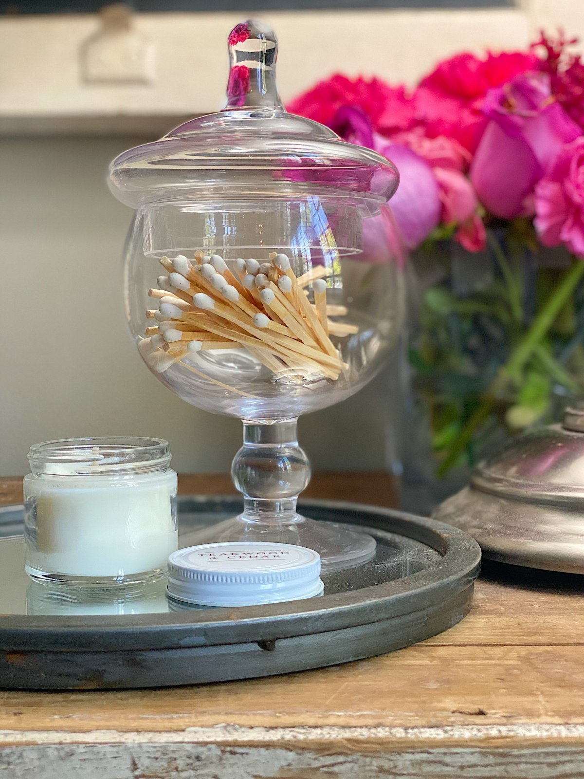 Apothecary Glass Jars in the Butlers Pantry
