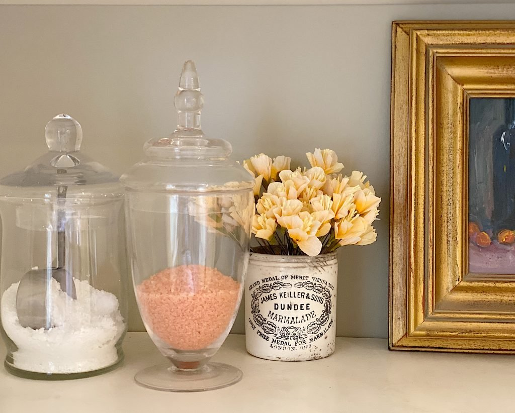 Apothecary Glass Jars in the Bath Room