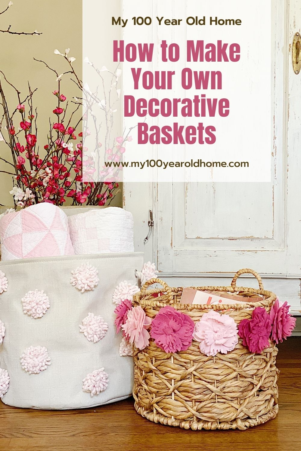 I am always looking for ways to make things look prettier in our home. Today I am sharing two decorative baskets I made with pom poms and felt.