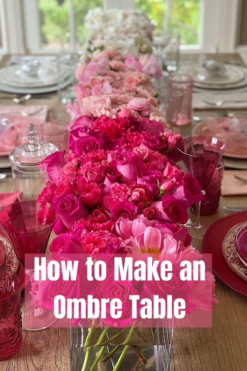 I love color and I am obsessed with my latest table creation. I created my first ombré table to use as Valentine's Day Table Decorations.