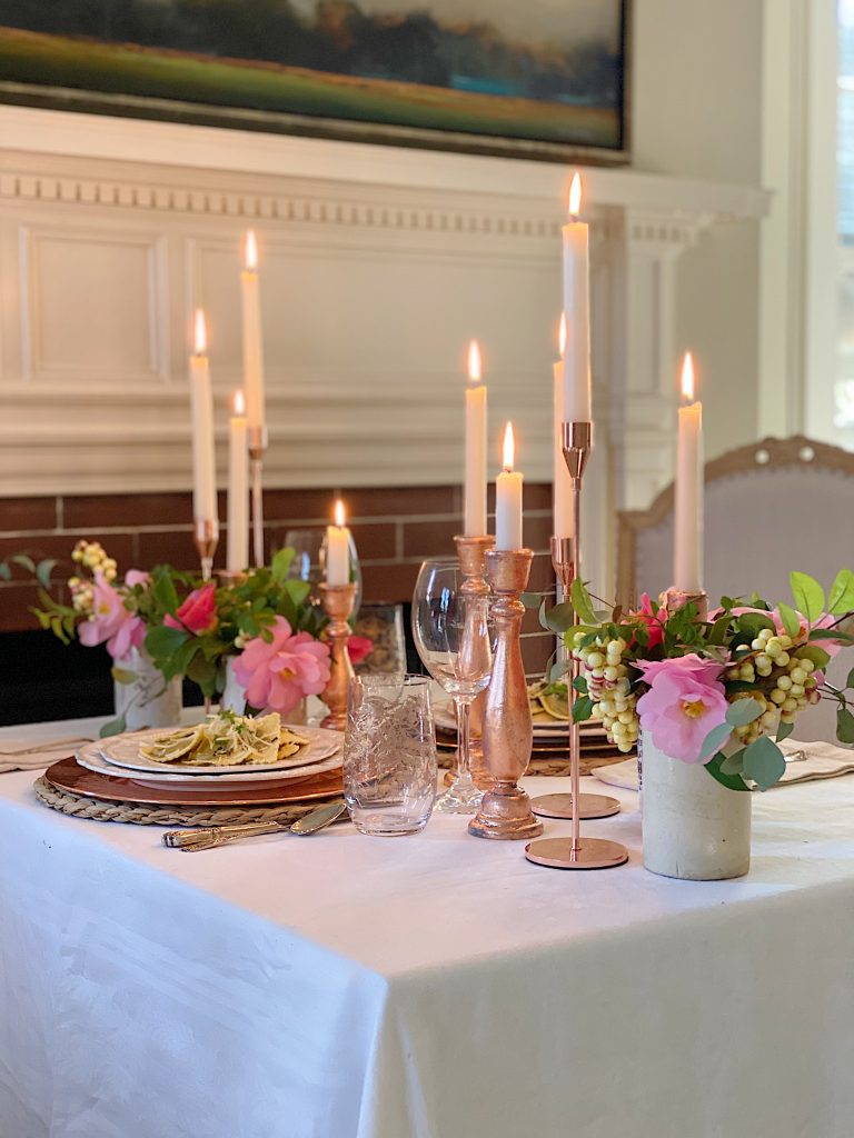Romantic Dinner in Front of the Fireplace