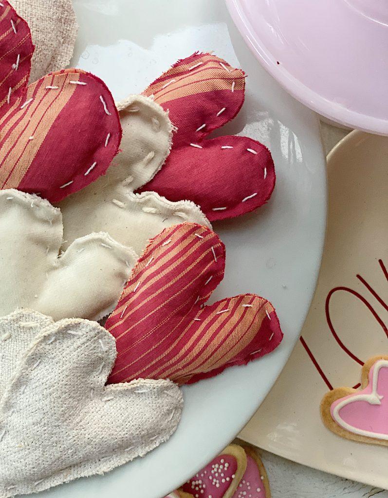 Valentine's Day DIY Vignette Hand Sewn Hearts