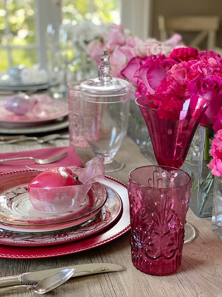 Valentine's Day Table Decorations with Pink glassware