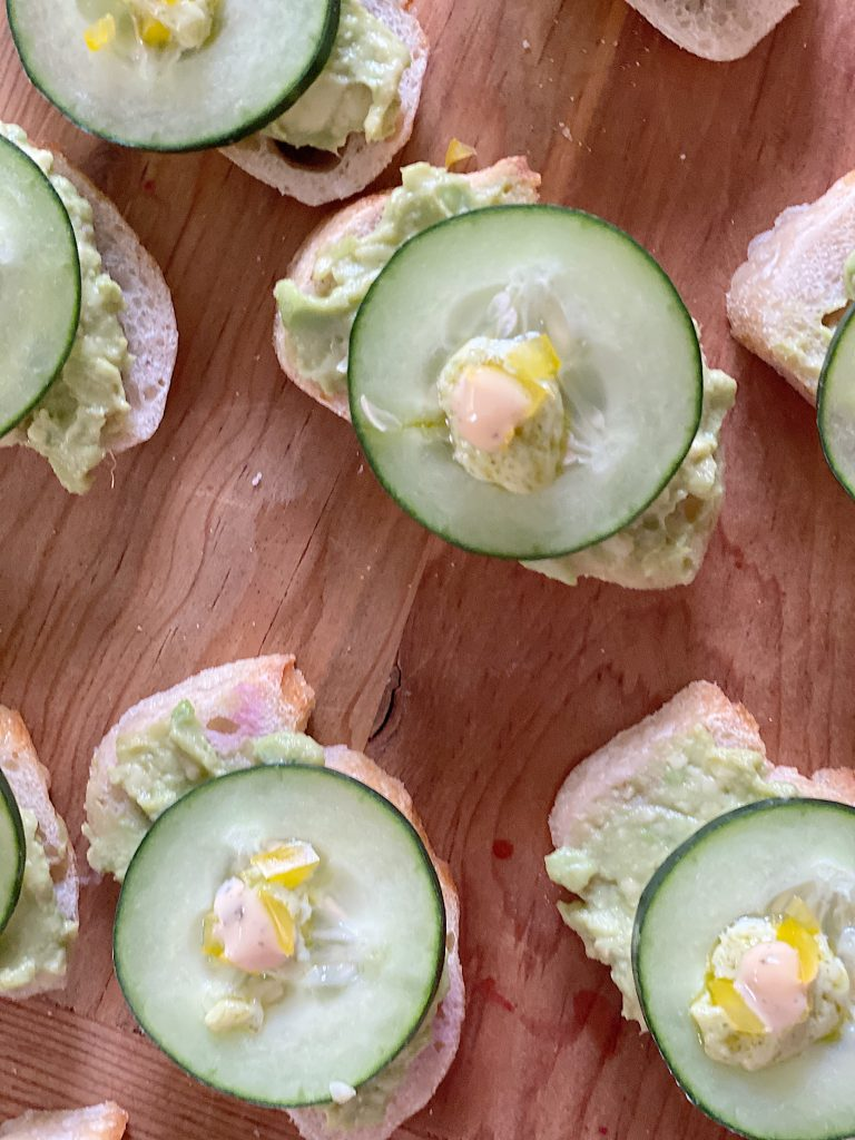 Avocado and Cucumber Rounds Baguettes
