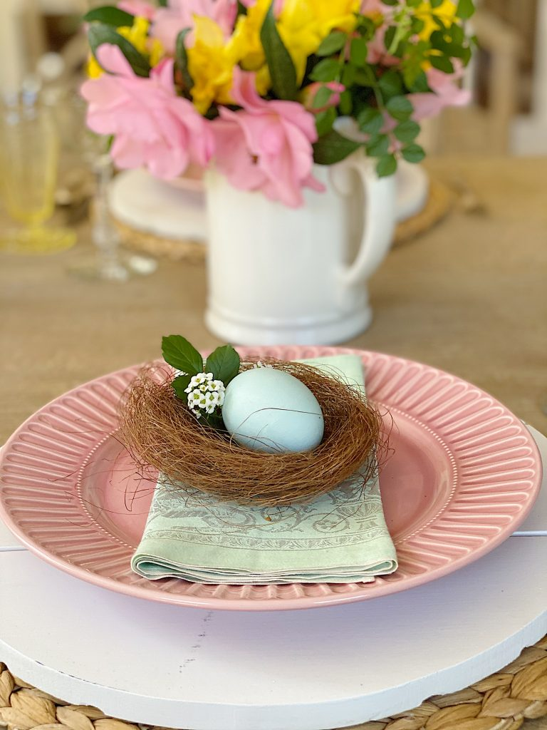 Colorful Table with Nests for Easter Dinner