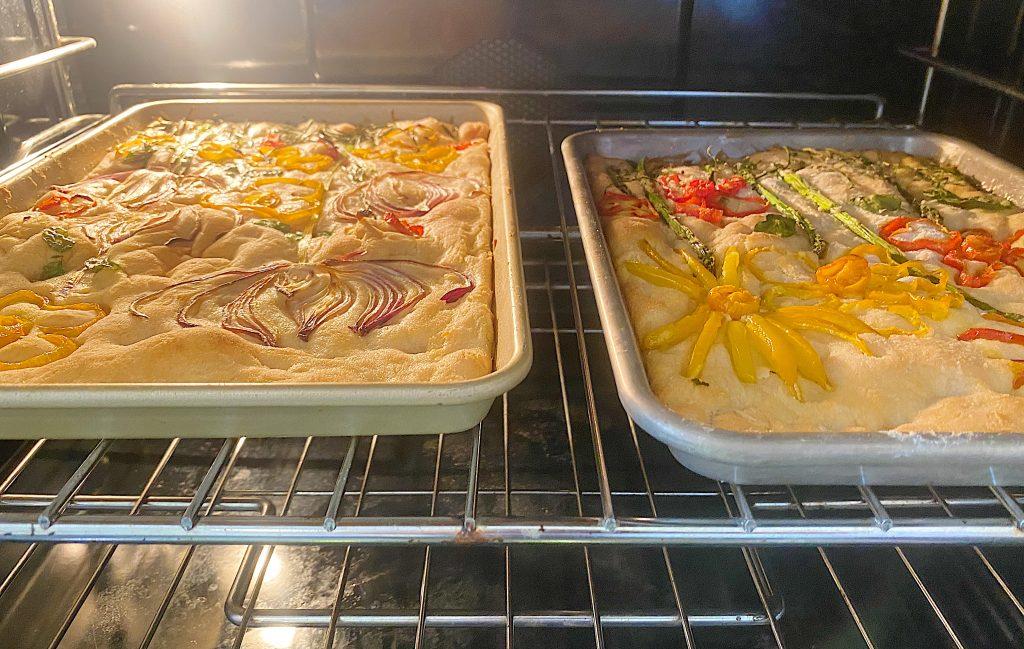Focaccia Bread Baking in the Oven
