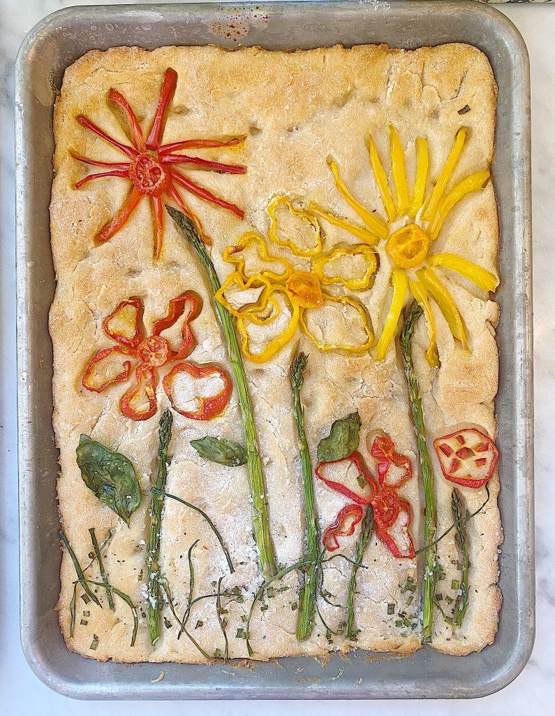 Focaccia Bread Garden After Baking
