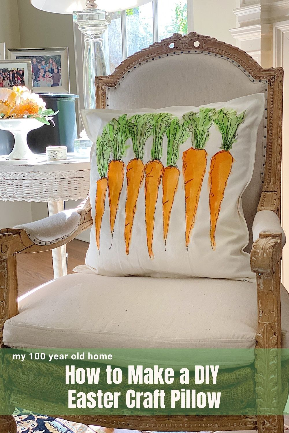 Today I am sharing a DIY Easter craft pillow. Learn how to make a Free Stich Embroidered pillow with carrots.