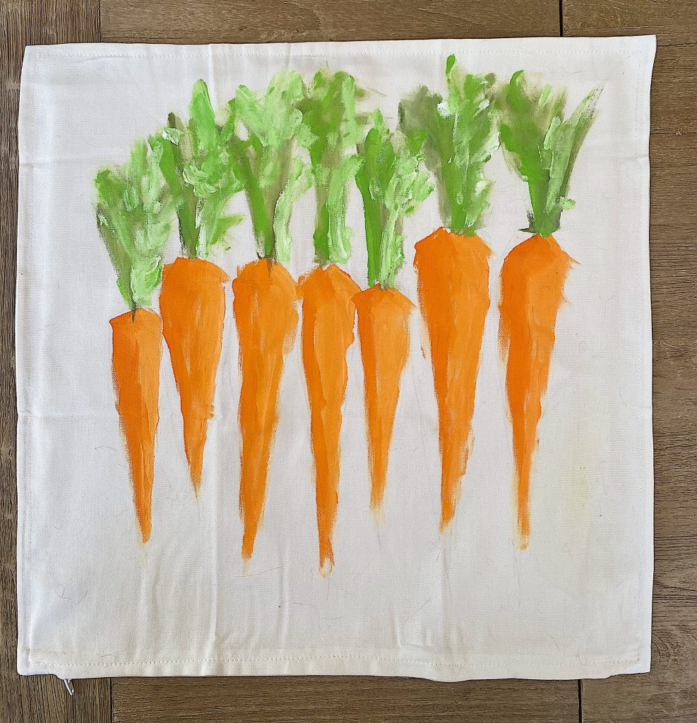 Painted Carrots Pillow