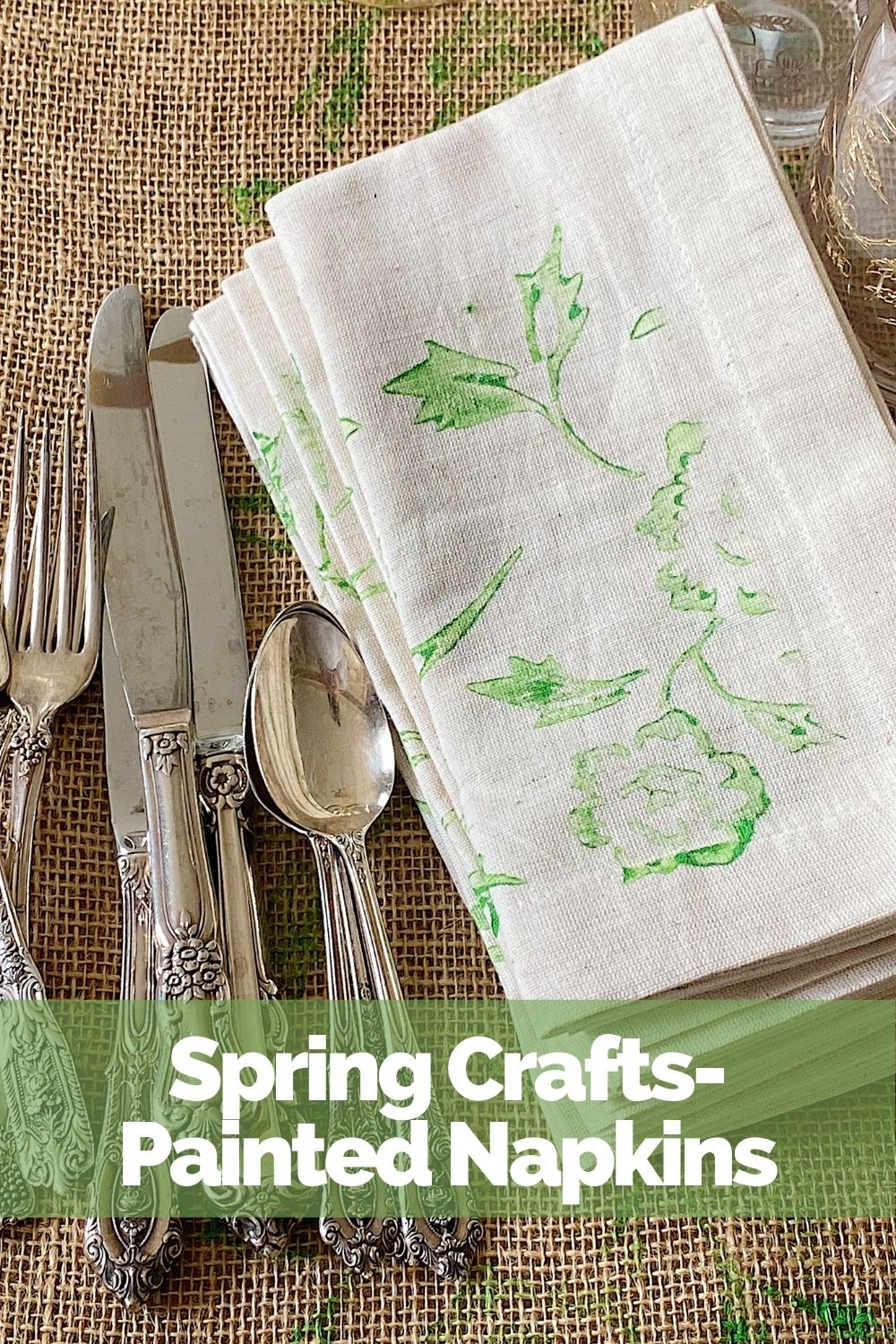 I love this spring craft! I made these painted napkins (and table runner) with my favorite spring colors and a paint roller. This is such an Easy DIY and fun spring craft.