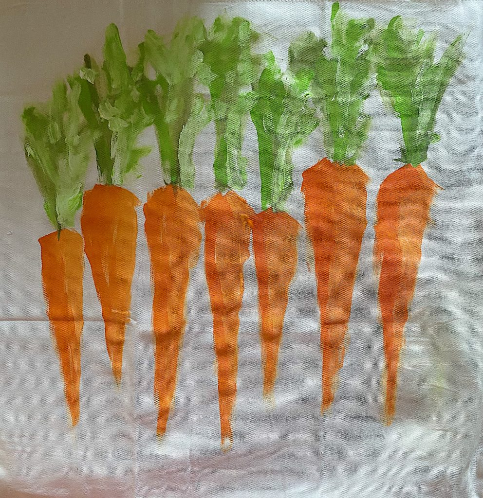 Painting Green Stems on the Pillow