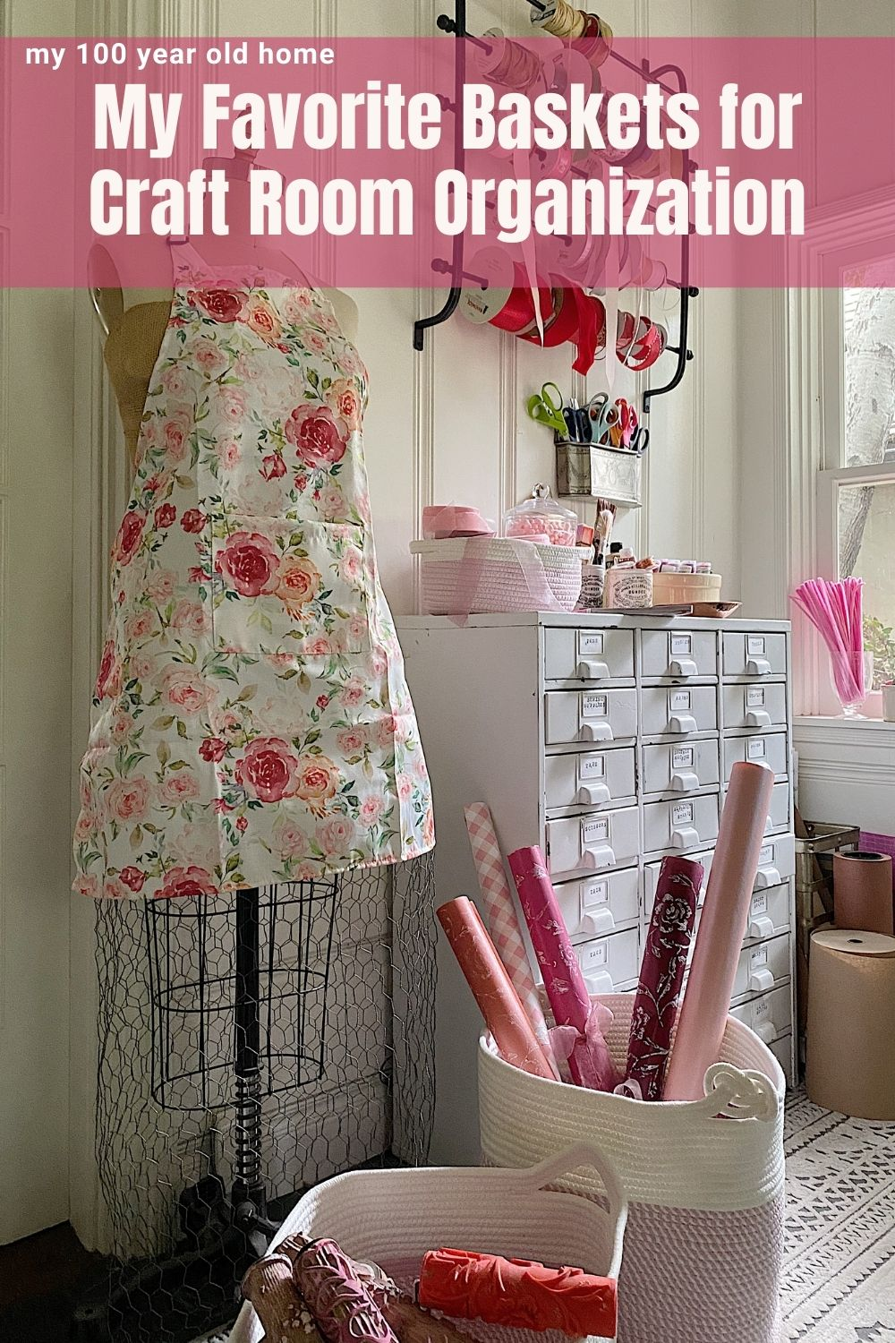 I always struggle with craft room organization because I want to use items that are practical and look good. These pink and white decorative storage baskets are perfect!