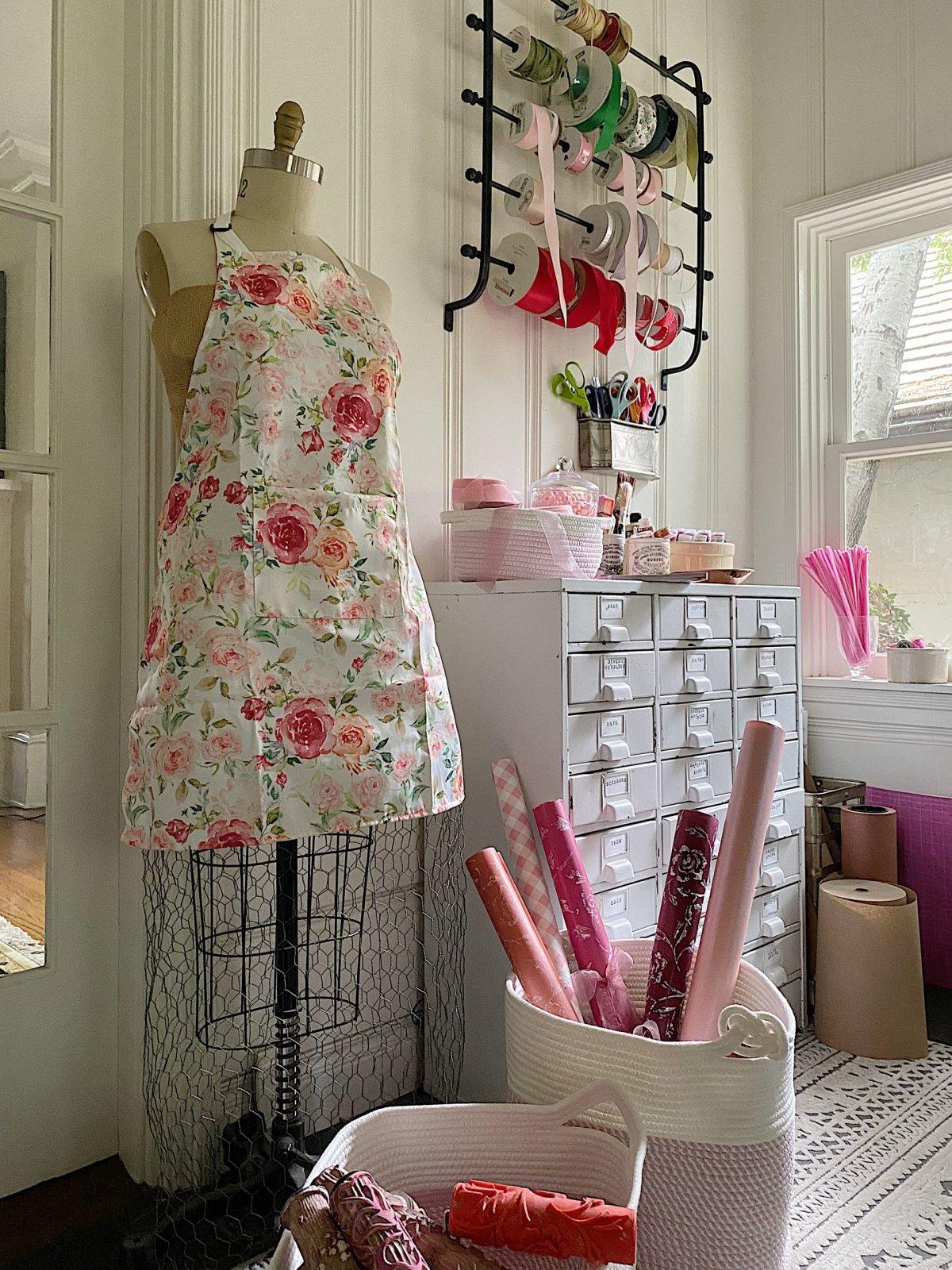 Craft Room Organization in Pink