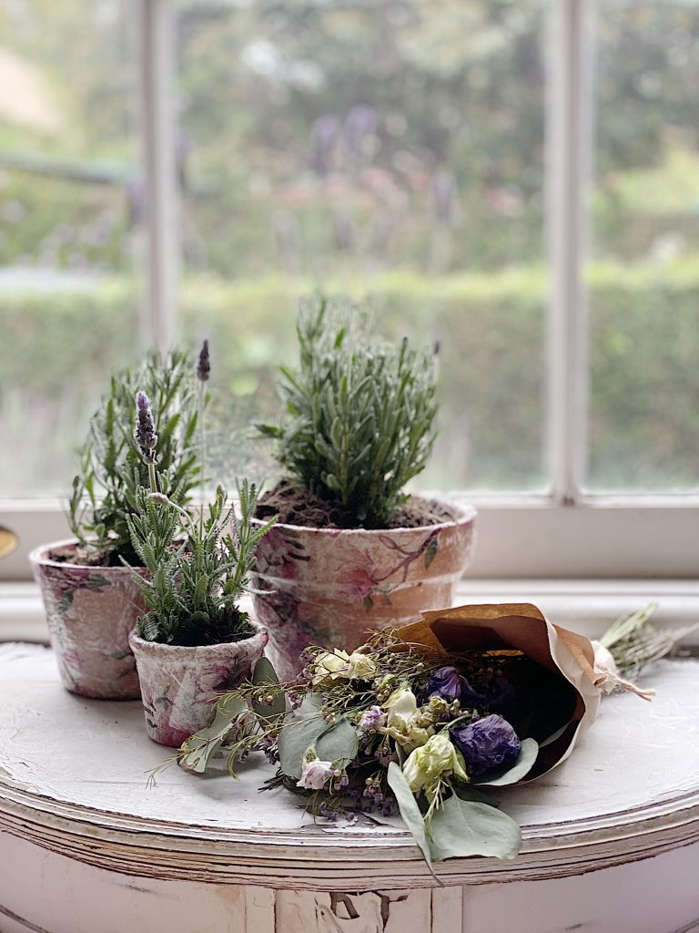 Decoupage Terra Cotta Pots with Lavender