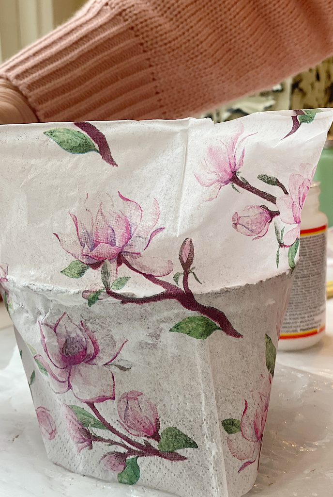 Decoupage Terra Cotta Pots with Napkins